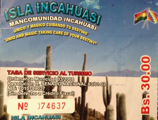 Isla Incahuasi ticket