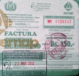 Reserva Eduardo Avaroa ticket